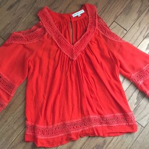 Adorable tomato red cold shoulder top